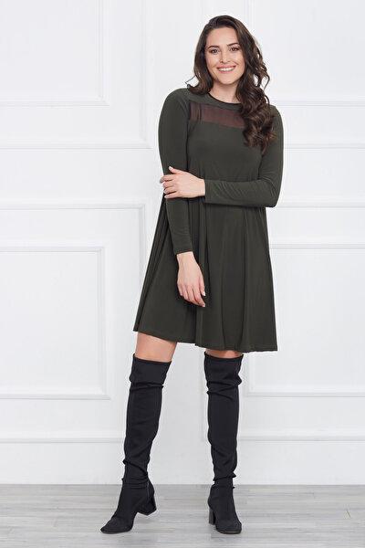 Kadın Yeşil Tül Detaylı Elbise 17LB9008