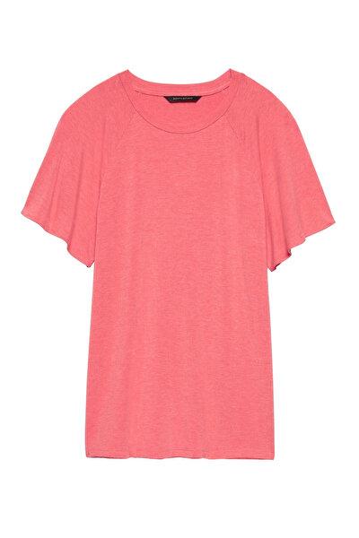 Kadın Turuncu Kısa Kollu Yumuşak Dokulu Streç T-Shirt 363521