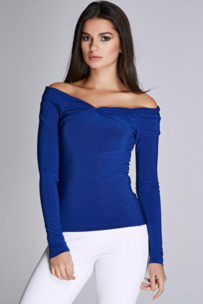 Kadın Saks Yaka ve Omuz Detaylı Bluz 15L4564