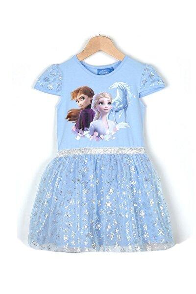 Kız Çocuk Mavi  Elsa Elbise
