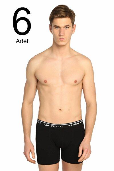 Erkek Siyah 6'lı Paket Likralı Boxer Elf568s0060ccm6