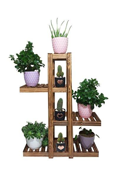 Doğal Ahşap Dekoratif Balkon Bahçe Çiçeklik Saksı Standı Saksılık 90 cm X 65 cm