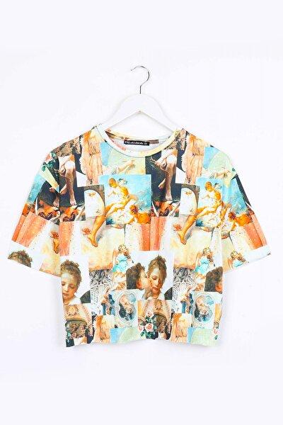 Melek Dijital Baskı Kemer Boy Kadın Tshirt