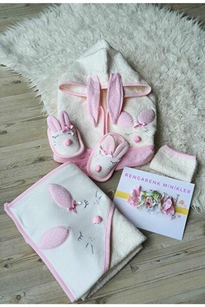 Kız Bebek Pembe Uyuyan Tavşancık Bornoz Takımı
