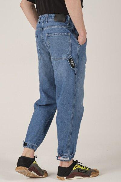 Erkek Mavi Paça Detaylı Boyfriend Jeans