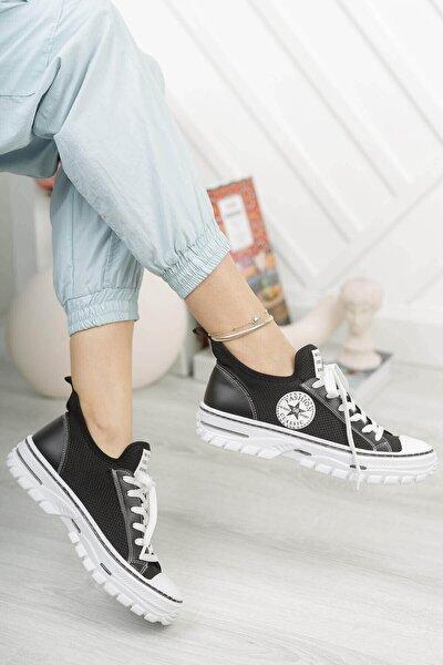 Kadın Beyaz Siyah Günlük Bağcıklı Sneaker