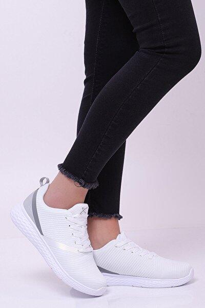 DERON W Beyaz Açık Gri Kadın Koşu Ayakkabısı 100300712