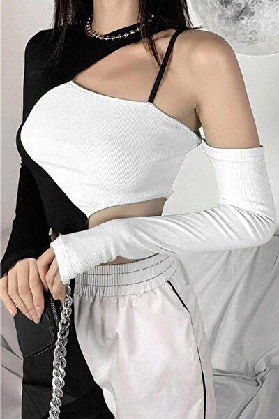 Kadın Siyah Beyaz Çift Renk Tek Kollu Bluz