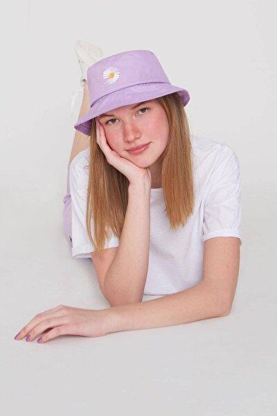 Kadın Lila Papatya İşlemeli Bucket Şapka Şpk1035 - F1 Adx-0000022885