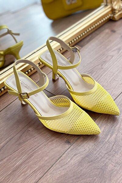 Vanelo File Bilekten Bağlama Detaylı Yüksek Topuklu Stiletto Sarı
