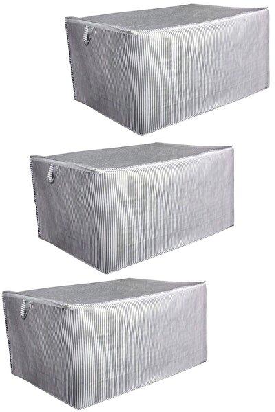3 Adet Sandık Tipi Hurç Mega - Yastık&yorgan Vb. Hurcu 80x60x40 - Leke Tutmaz Çizgili