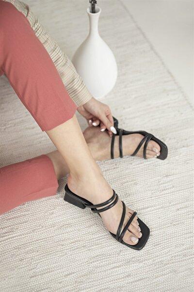 Kadın Topuklu Terlik Siyah