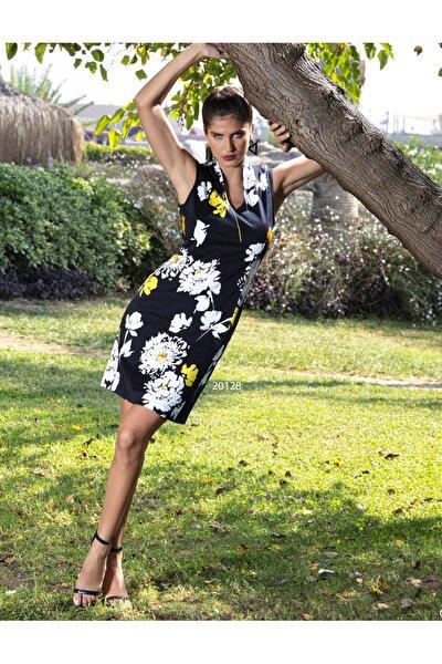 Kadın Siyah Çiçek Desenli Japone Yaka Midi Elbise