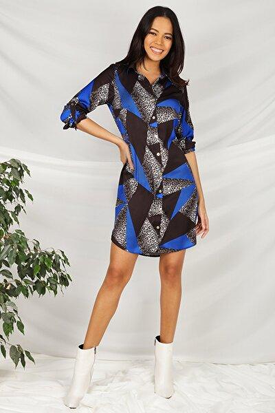 Kadın Mavi Geometrik Desen Beli Kemerli Gömlek Elbise