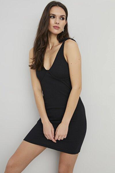 Kadın Siyah Askıları Bağlamalı Kaşkorse Elbise KZ1216-10