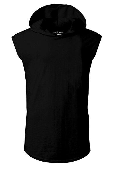 Unisex Basic Kapşonlu Kolsuz Siyah T-shirt