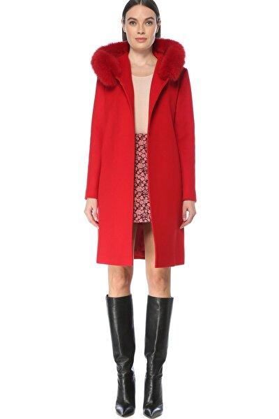 Kadın Regular Fit Kırmızı Kapüşonlu Yün Kaban 1077617