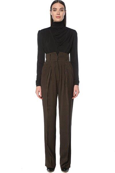 Kadın Regular Fit Kahverengi Yüksek Bel Çizgili Pantolon 1076431