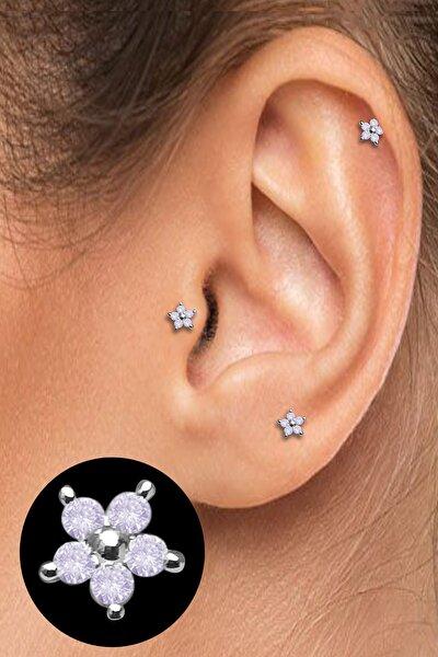 Cerrahi Çelik Kıkırdak Helix Tragus Piercing Mini Boy Çiçek Figür (1 Adet) Slmncc