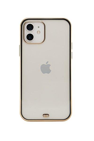 Iphone 12 Premium Electrolize Silikonlu Siyah Telefon Kılıfı
