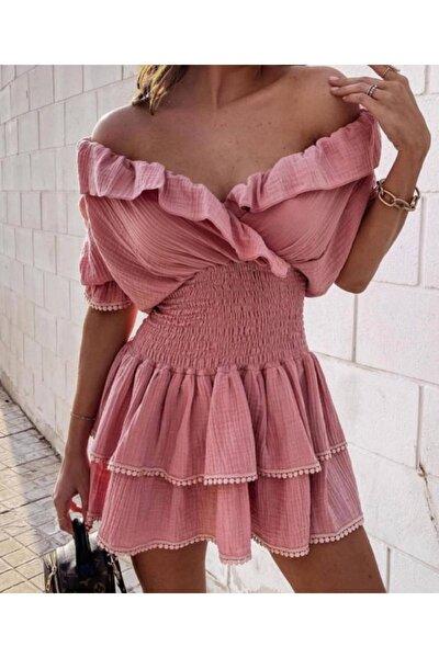 Kadın Pudra Mini Elbise