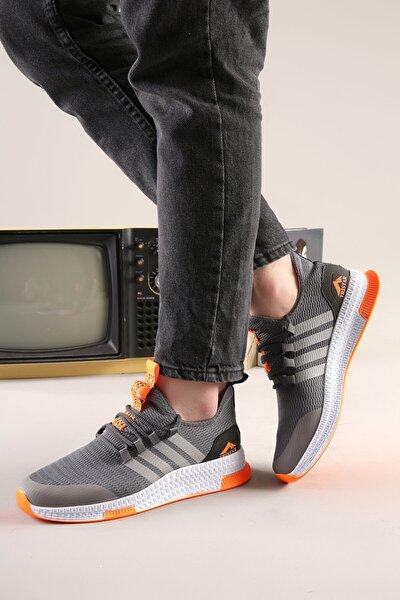 Erkek Füme-turuncu 4 Bantlı Desenli Triko Spor Ayakkabı