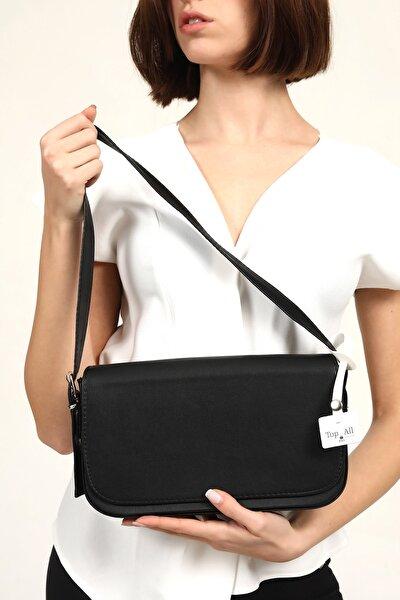 Siyah Kadın Kapaklı El Ve Omuz Baget Çanta