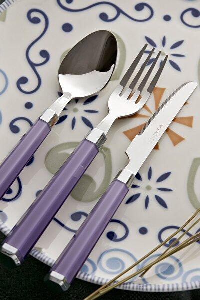 Freya Mor 18 Parça 6 Kişilik Çatal Kaşık Bıçak Seti
