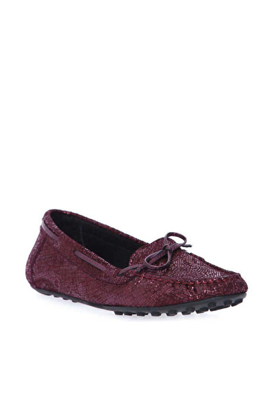 Hakiki Deri Bordo Kadın Loafer Ayakkabı