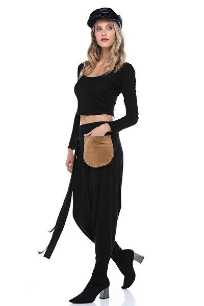 Kadın Siyah Viskon Şalvar DP4004