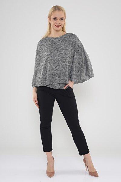 Kadın Gri Basıc Tshırt Üzerine Pelerin Detaylı Bluz Hn617