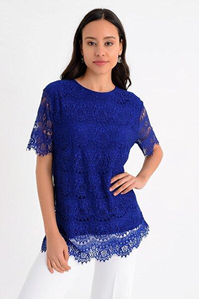 Kadın Mavi Kısa Kollu Dantel Detaylı Bluz  Hn1634