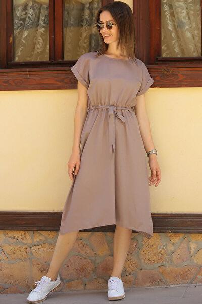Kadın Vizon Beli Lastikli Bağlamalı Elbise ARM-18Y001120