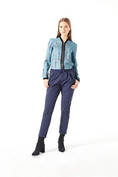 Kadın Mavi Beli Lastikli Duble Paça Pantolon 18KGMZL2011025