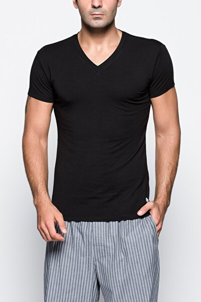 Erkek Siyah V Yaka T-Shirt 80204