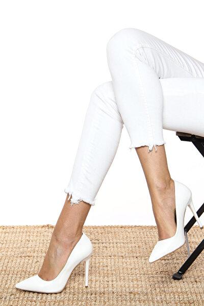 Beyaz Kadın Topuklu Ayakkabı 18Y 708