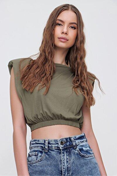 Kadın Haki Omuz Vatkalı Beli Lastikli Crop T-Shirt ALC-X5800