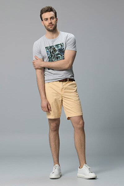 Erkek Iksion Modern Grafik T- Shirt Açik Gri 111020014100180
