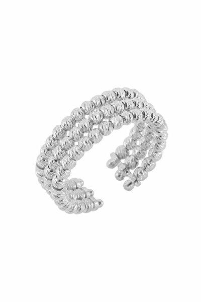 Kadın 925 Ayar Gümüş Dorica Rodyumlu Üçlü Yüzük SGTL4508