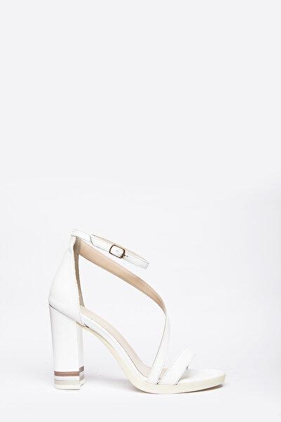 Hakiki Deri Beyaz Kadın Topuklu Ayakkabı 7240