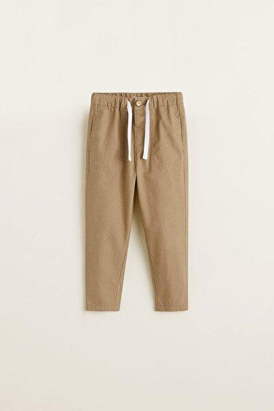 Krem Erkek Bebek Beli Elastik Pamuklu Pantolon 43085008