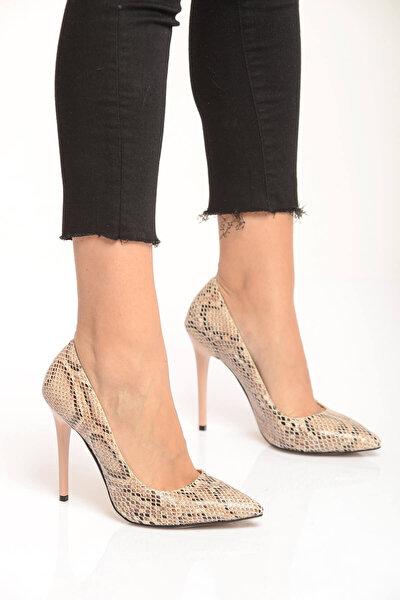Bej Kadın Topuklu Ayakkabı 18Y 708