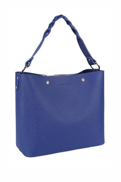 Kadın Örgü Askılı Baget Çanta Saks Mavi