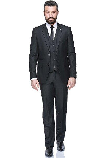 Yelekli Dar Kalıp Takım Elbise - Füme - 3W3M0434D032