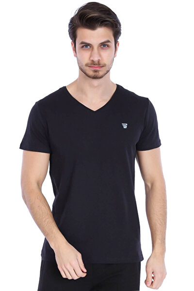 Flavebasic Erkek Siyah Günlük Stil Tişört 710387-00b