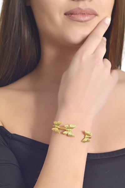 Kadın Altın Renk Kaplama Yuvarlak İkili Kelebek  Bileklik