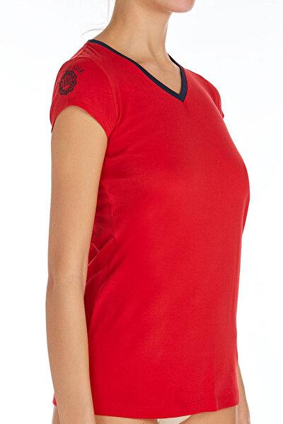 Kadın Kırmızı V Yaka T-shirt US.01.66053