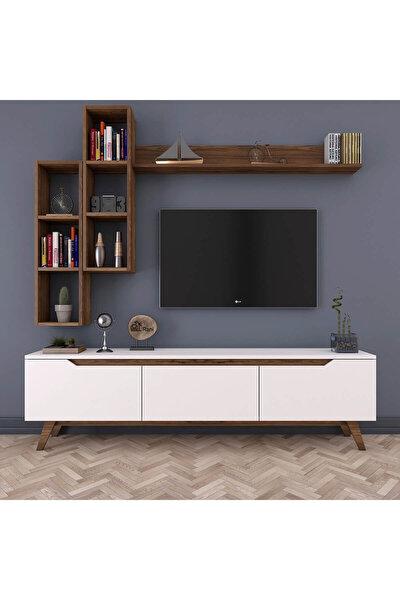 D1 Duvar Raflı Kitaplıklı Tv Ünitesi Duvara Monte Dolaplı Ahşap Ayaklı Tv Sehpası Beyaz Ceviz M16