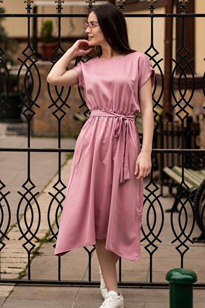 Kadın Gül Kurusu Beli Lastikli Bağlamalı Elbise ARM-19Y001060