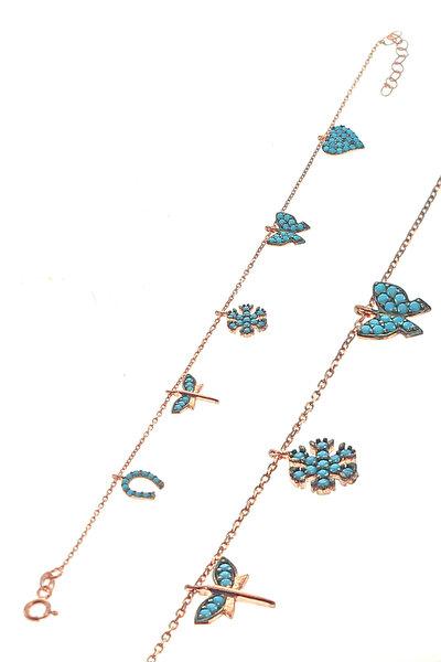 Kadın Rose Renk Gümüş Turkuaz Taşlı Şans Bilekliği SGTL8641